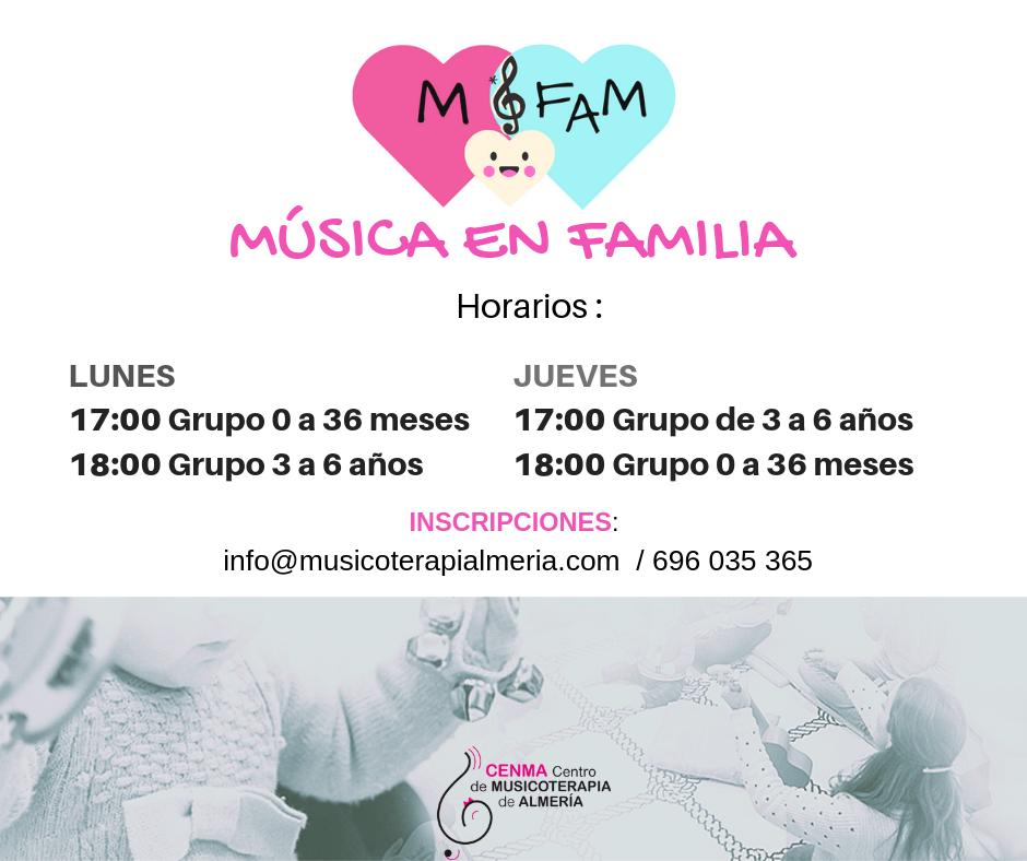 Actividades Música en Familia del Centro de Musicoterapia Almería